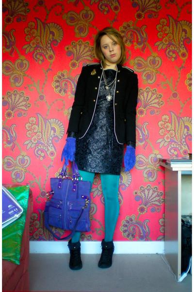black Zara Basic blazer - black warehouse dress - purple TKmaxx accessories - gr