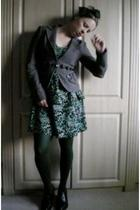 black vintage accessories - black TKmaxx dress - gray Zara jacket - green Topsho