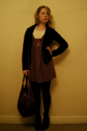 brown Topshop jacket - purple vintage dress - purple Modalu London accessories -