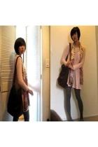 dress - coach purse - tights