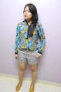 Grey-h-m-shorts-floral-print-bossini-blouse-mustard-flats