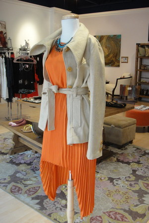 beige Tulle coat - carrot orange BB Dakota dress - turquoise blue necklace