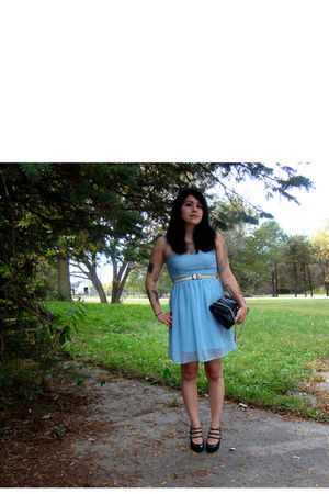 blue rodarte x target dress - black vintage purse - black Dollhouse shoes - gold