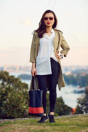 nike shoes - trench Stylenanda coat - rag & bone jeans - textured Hectorr shirt