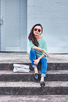 neuw jeans - Miseoul purse - dieppa restrepo loafers - striped Stylenanda top
