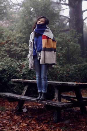 Zara jeans - leather Topshop boots - colour block Zara scarf