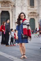 wool Zara scarf - silk Aijek dress - leather Rebecca Minkoff bag