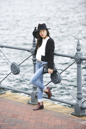 blue Cheap Monday jeans - H&M hat - new look purse - Topshop clogs