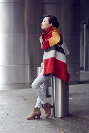 colour block Zara scarf - Topshop boots - Cheap Monday jeans - AddTension ring