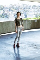 leather Topshop boots - Cheap Monday jeans - yesimfrench t-shirt