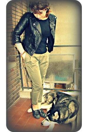 black Bershka jacket - olive green Zara pants - black be sweet loafers