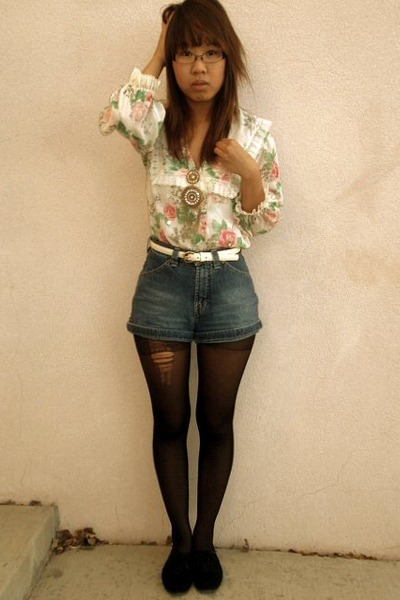 blue silver jeans Ebay shorts - white anne klein thrifted belt - gold Forever 21