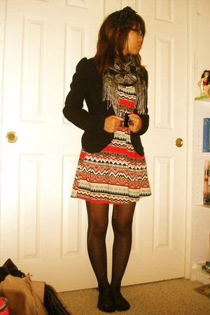 Charlotte Russe blazer - Forever 21 dress - scarf - Forever 21 accessories - Rue