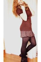 brown top - brown Old Navy skirt - black H&M tights - black Zara boots - brown s