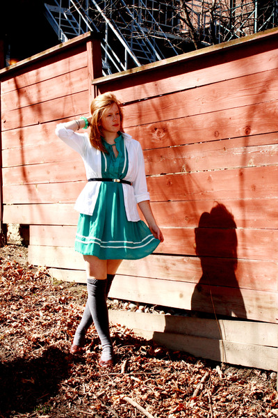 blue teaberry dress - gray American Apparel socks - white blouse - blue thrifted