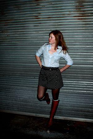 black thrifted skirt - black American Apparel tights - blue Jacob shirt - blue t