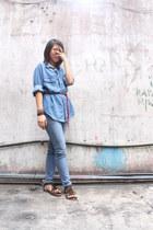 blue jeans - brown fringe sandals flats - brown boho bracelets bracelet - blue d