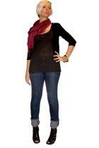 scarf - forever 21 sweater - Express t-shirt - Earnest Sewn jeans - Nine West sh
