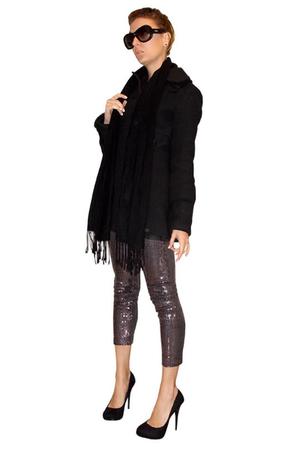 black Zara coat - gray AKIRA Black Label leggings - black michael antonio shoes