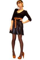 black Silence & Noise dress - black Forever 21 cardigan - brown H&M belt - brown