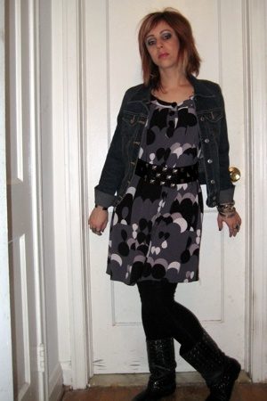 Old Navy jacket - H&amp;M dress - forever 21 belt - forever 21 leggings - Aldo boots