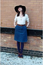 thrifted vintage hat - tricot  jolie thrifted sweater - Target tights - steve ma