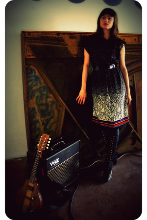 black sequined vintage belt - vintage 60s boots