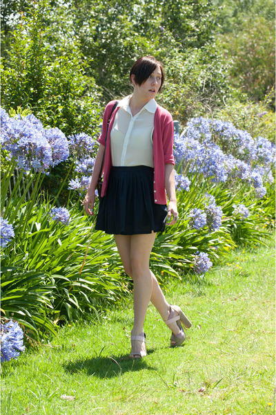 Red Berry shirt - lovely heart skirt - vintage cardigan - Therapy heels