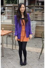 Mustard-forever-21-dress-purple-h-m-blazer-black-rubi-flats