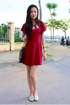 red Kitschen dress - black Mango purse - gold Aldo loafers