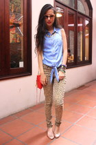 red Rebecca Minkoff purse - brown H&M pants - sky blue warehouse top