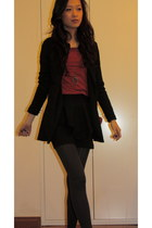 red Local Boutique top - black thrifted blazer - black Valley Girl skirt