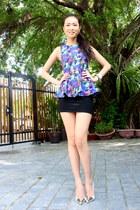 navy H&M top - black Forever 21 skirt - off white Zara heels