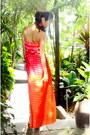 Orange-bcbg-maxazria-dress-tan-charles-david-heels