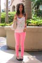 bubble gum Zara pants - beige Louis Vuitton bag - white H&M top