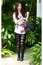 black Market tights - black Itabella boots - black Louis Vuitton bag