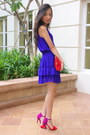 Blue-zara-dress-red-zara-purse-magenta-zara-heels