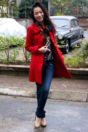 red NafNaf coat - navy Levis jeans - black Local Boutique jumper