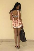 coral Zara top - charcoal gray Louis Vuitton bag - white Top Shop shorts