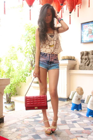off white Forever 21 top - red Jimmy Choo purse - sky blue Top Shop shorts