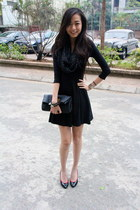 black H&M dress - black Louis Vuitton purse - black Kenzo heels