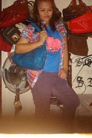pink bought at a bazaar top - blue Popstar shirt - purple Mudd jeans - brown Par