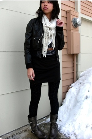 guess by marciano boots - H&M jacket - Urban Outfitters scarf