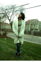white vintage cardigan - blue Lela Rose by Payless shoes - gray Walmart socks