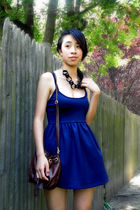 blue Urban Outfitters dress - brown H&M purse - black Macys necklace