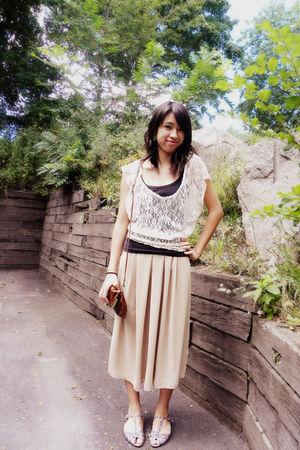 white Marshalls shirt - beige American Apparel skirt - brown Jessica Simpson bag