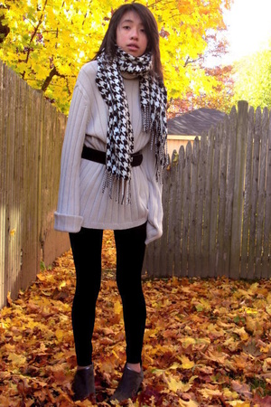 calvin klein sweater - Charter Club scarf - vintage belt - payless shoes