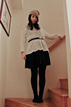 white mohair stolen from mom sweater - black lace vintage dress