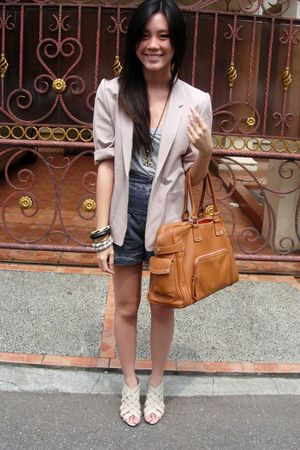 brown longchamp bag - white Yen shoes - beige Dae Won blazer