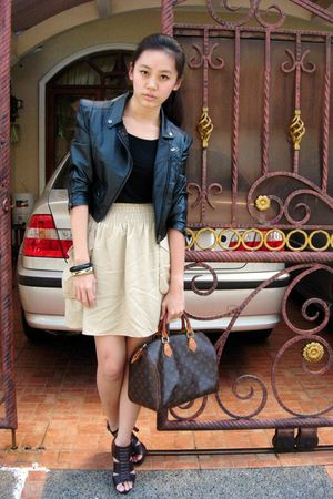 black Gaudi top - black jacket - beige H&amp;M skirt - brown Louis Vuitton bag - bro